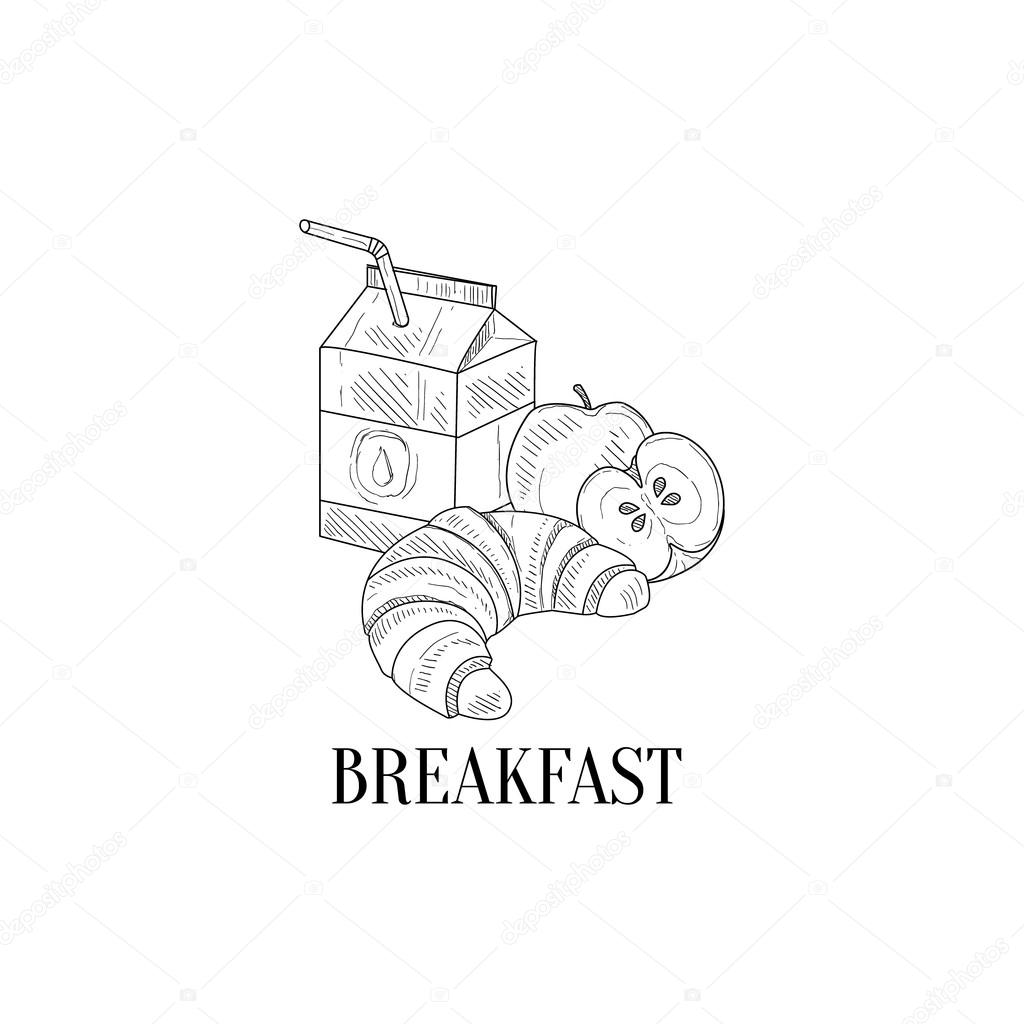 1024x1024 Breakfast With Milk, Croissant And Apple Hand Drawn Realistic