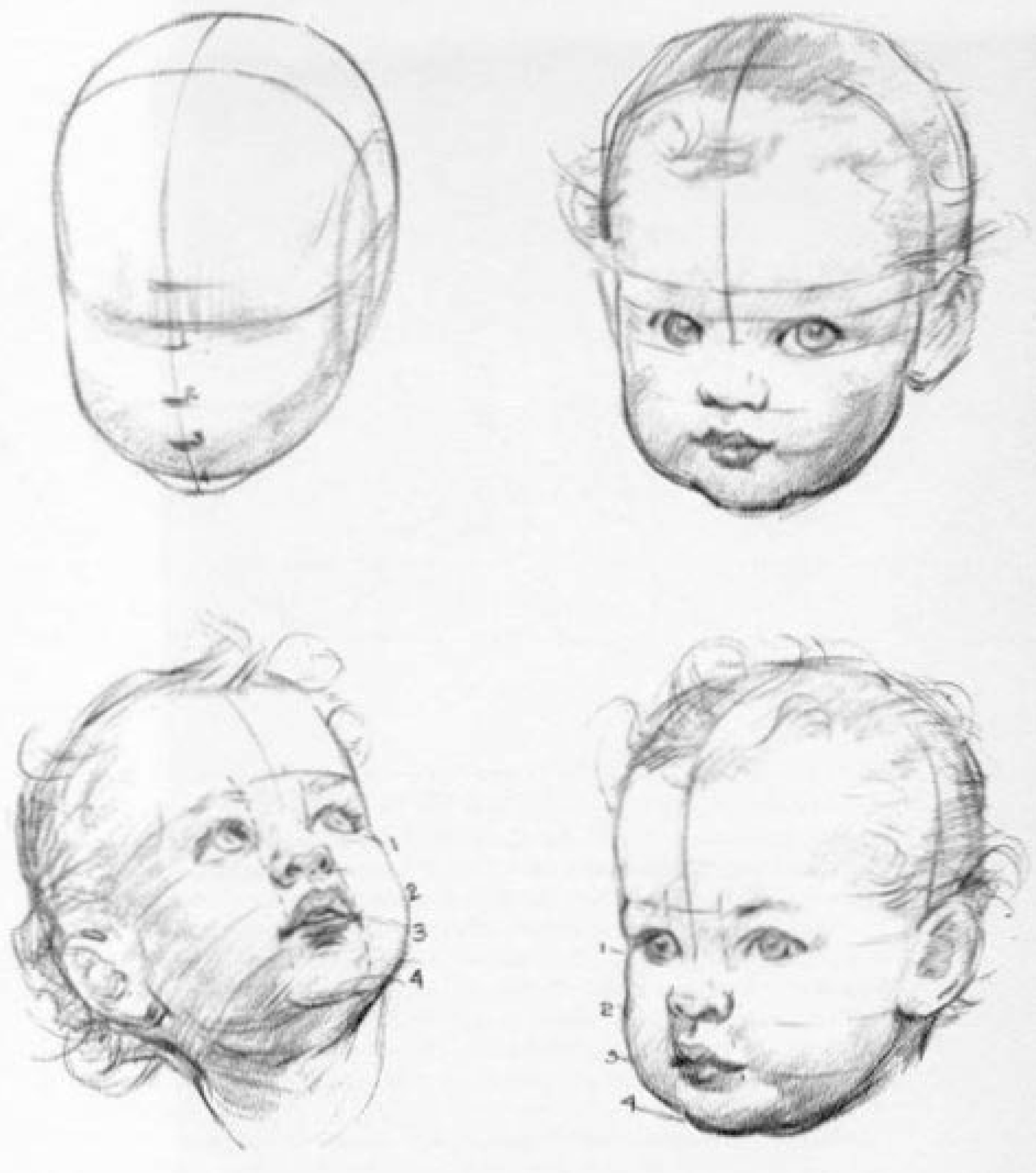 How to draw a realistic baby girl