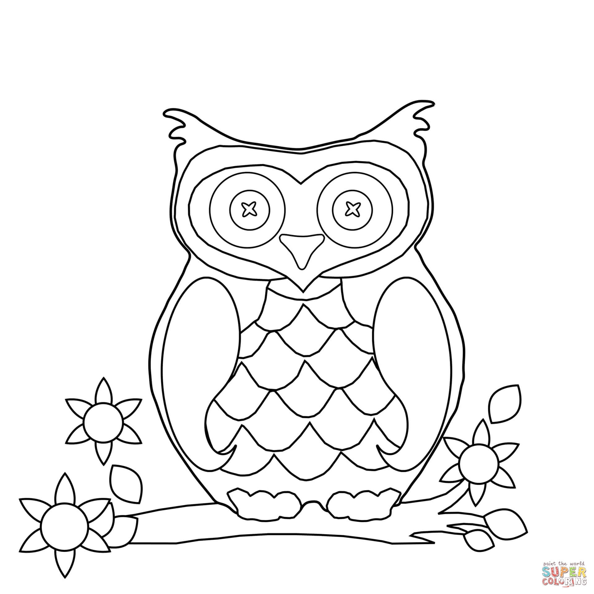 1920x1920 Cartoon Owl Coloring Page Free Printable Coloring Pages