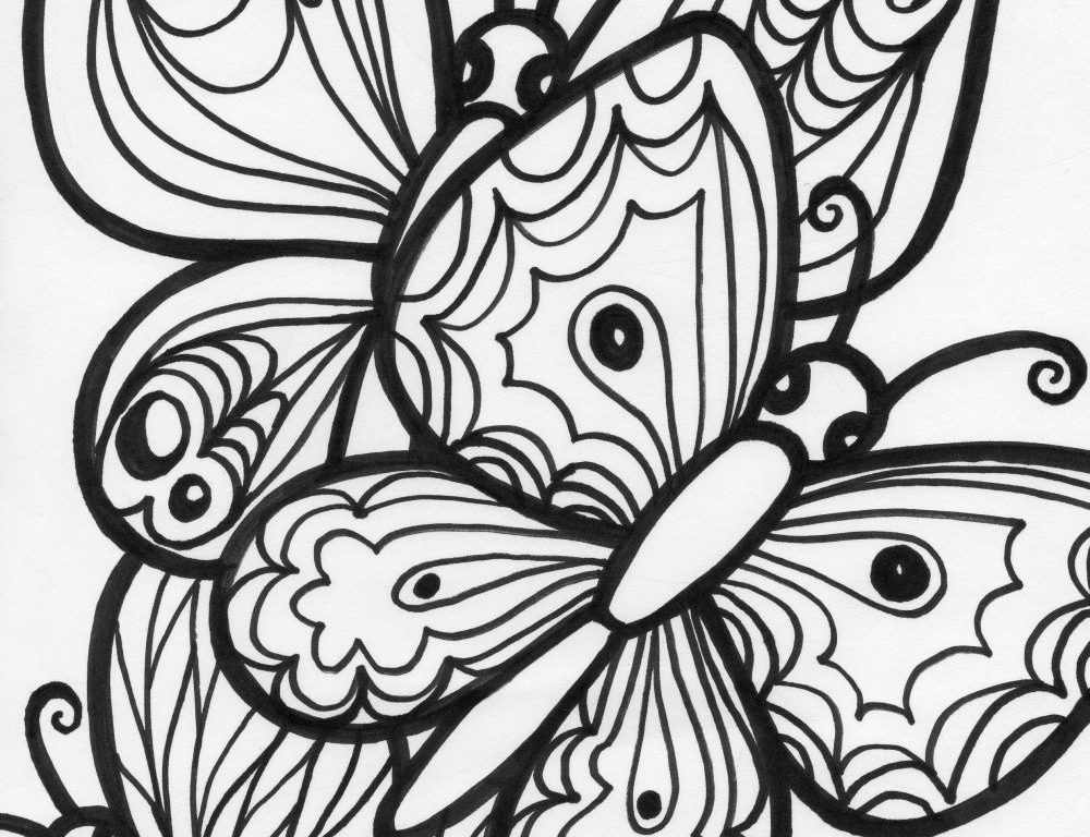 1000x768 Sheets Butterfly Coloring Pages In Download Free Printable Animals
