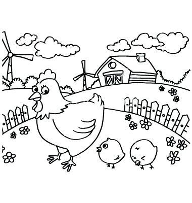 380x400 Chicken Pictures To Color Chicken Coloring Pages Baby Chicken