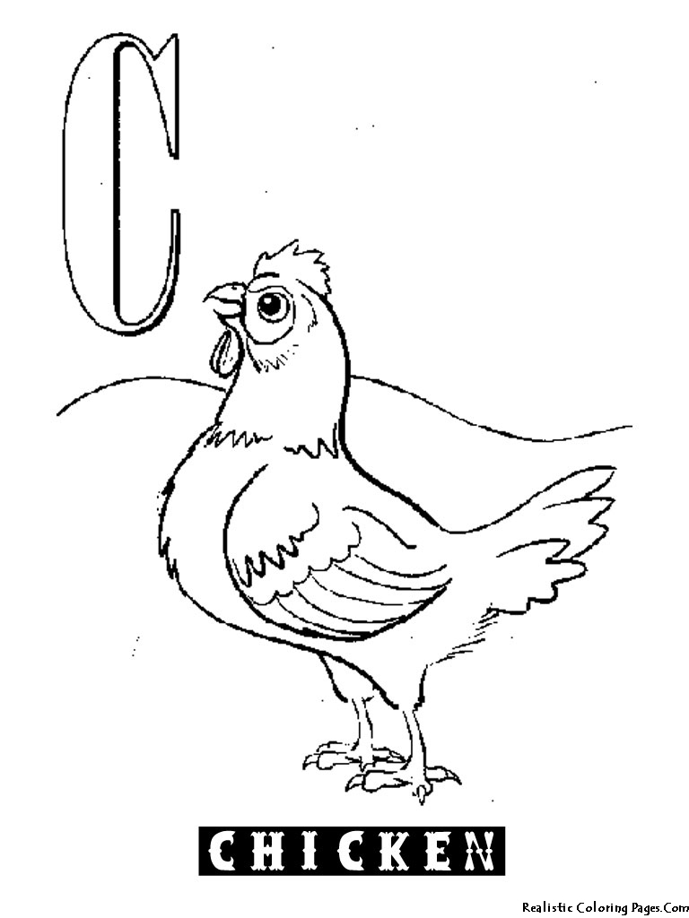 768x1024 Animal Alphabet C Chicken Coloring Pages Animal