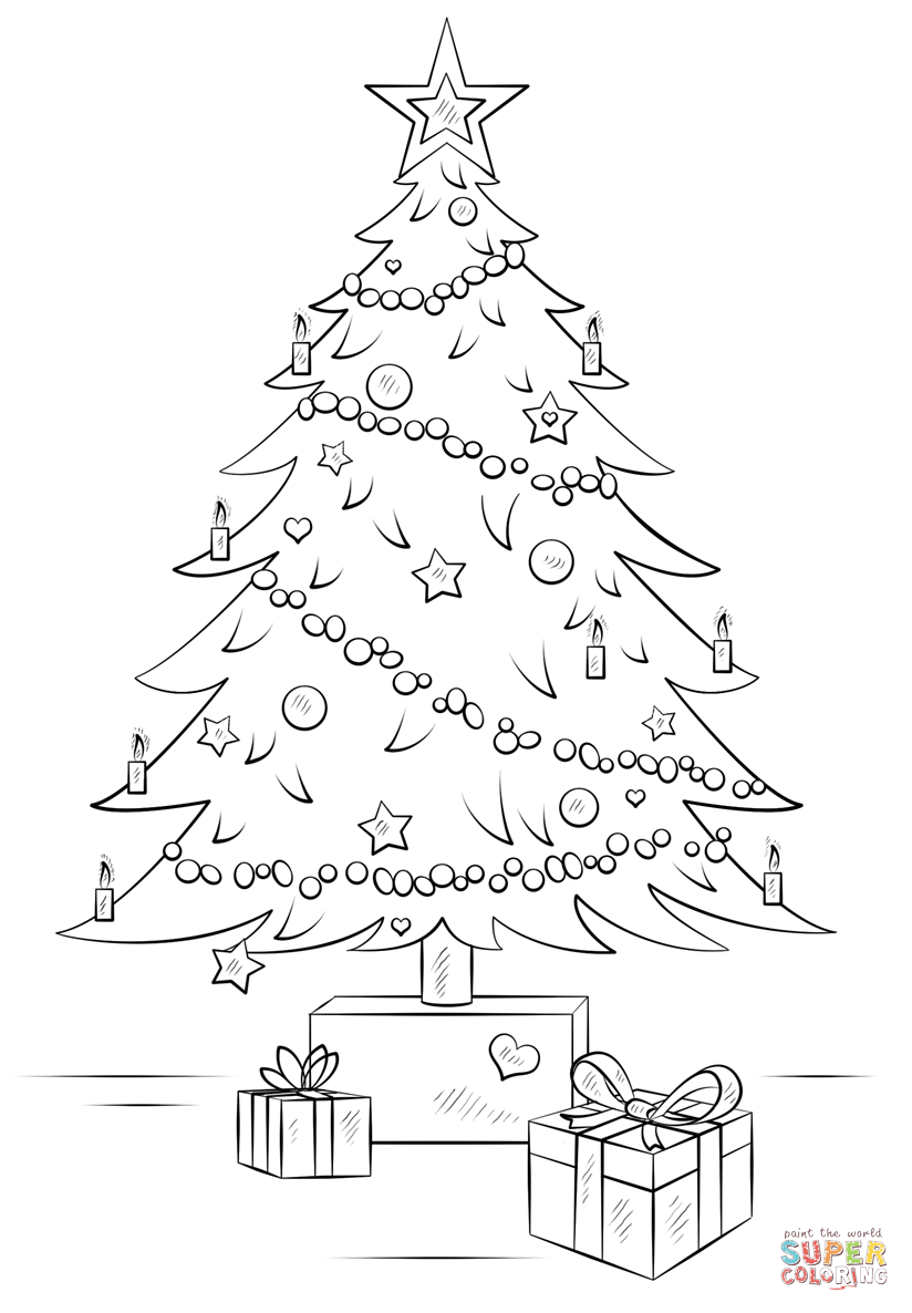 824x1186 Christmas Tree With Gift Boxes Coloring Page Free Printable