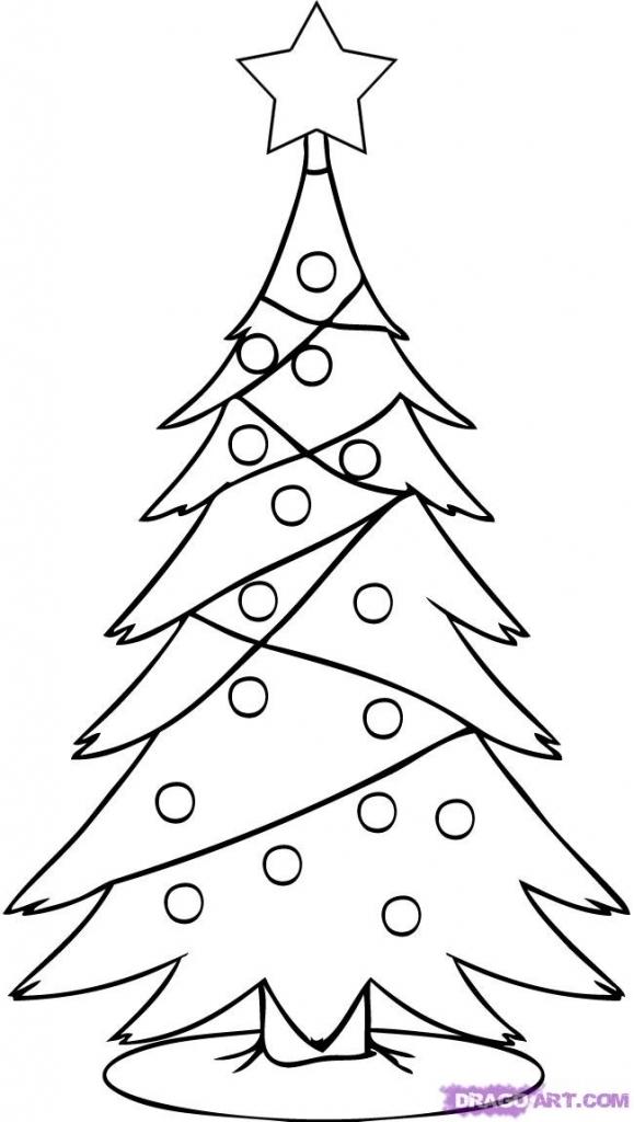 579x1024 Realistic Christmas Tree Drawing Christmas Tree Drawing Ideas