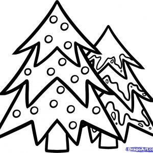 300x300 Christmas Tree Drawing Ideas For Kids Realistic Christmas Drawing