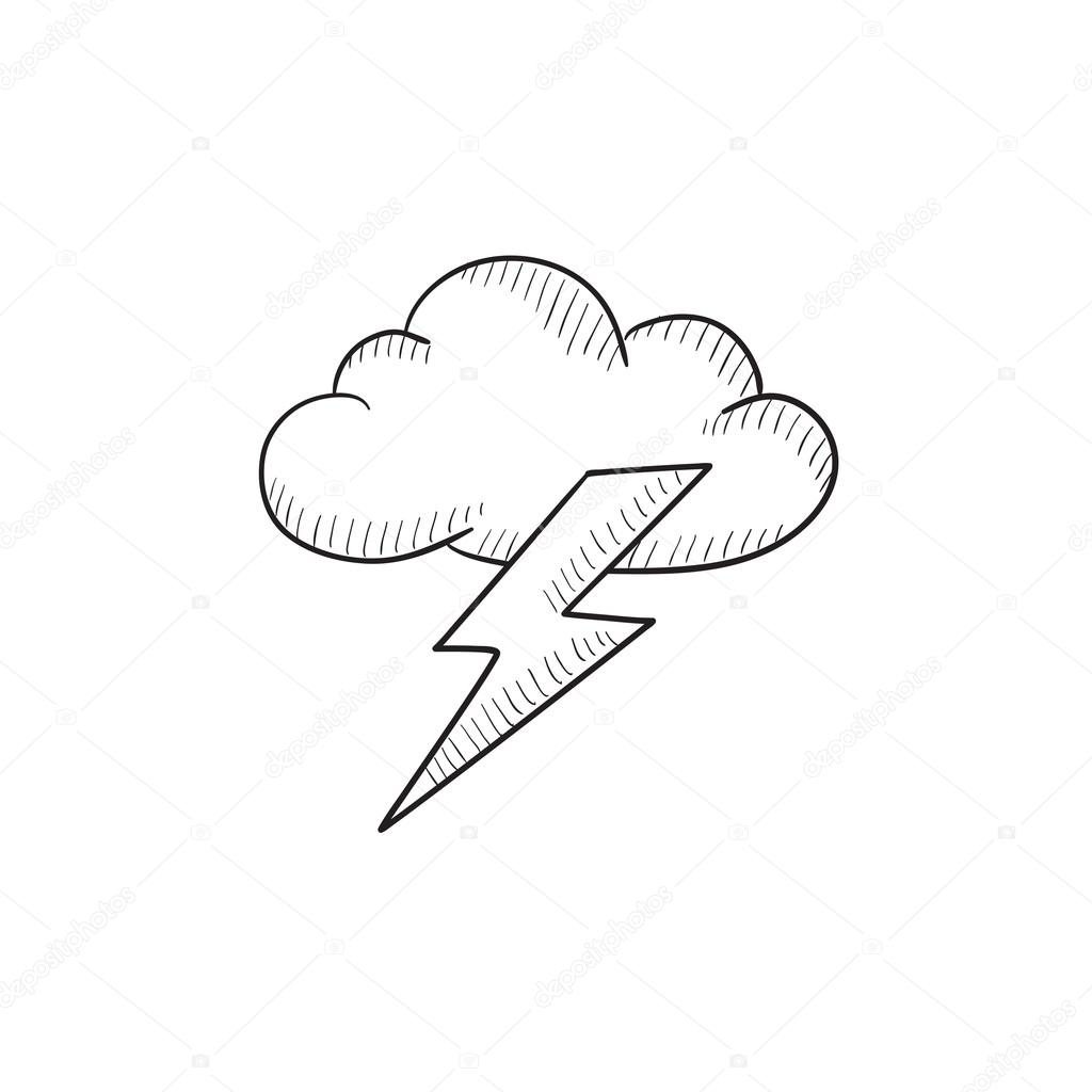 1024x1024 Cloud And Lightning Bolt Sketch Icon. Stock Vector Rastudio