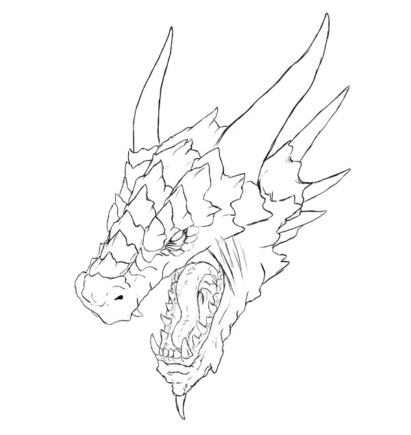 600x635 How Draw A Dragon Head How