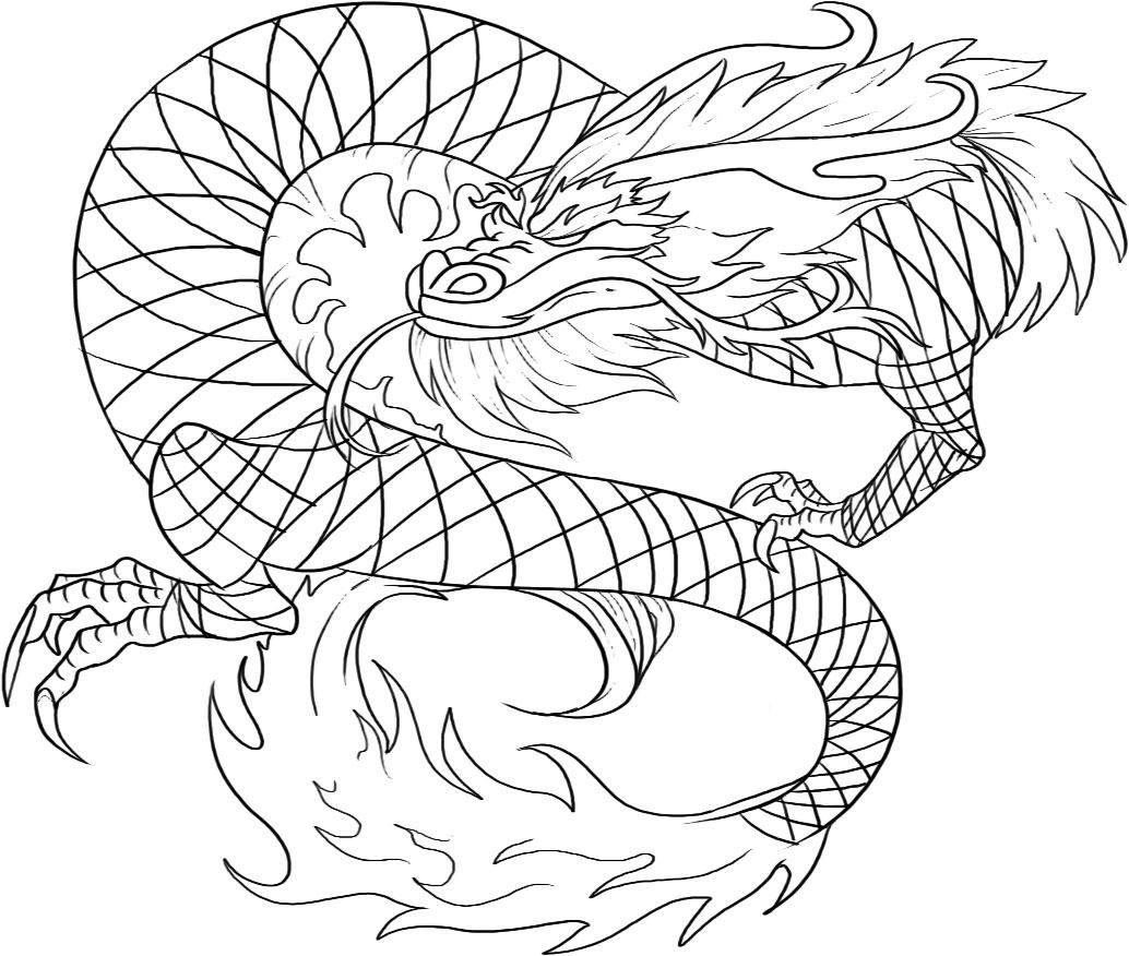 1034x876 Realistic Dragon Coloring Pages For Adults Free Printable