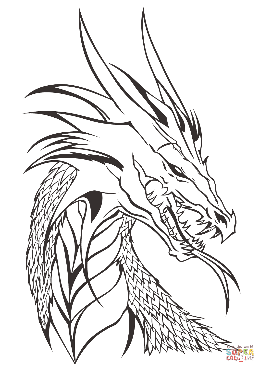 1061x1500 Realistic Dragon Head Coloring Pages Preschool For Amusing Page
