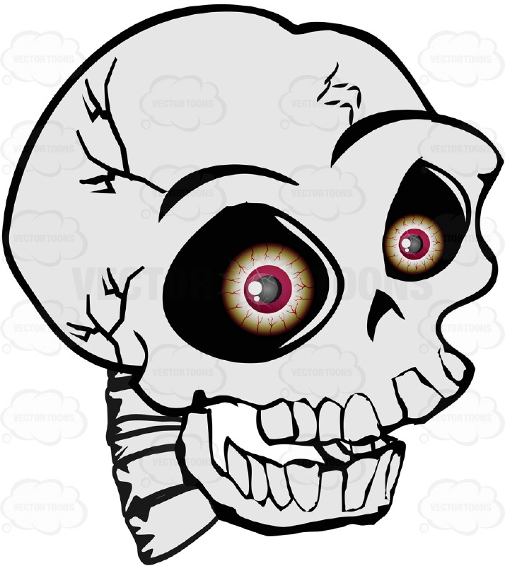 714x800 Cartoon Human Skull With Realistic Bloodshot Red Eyeballs