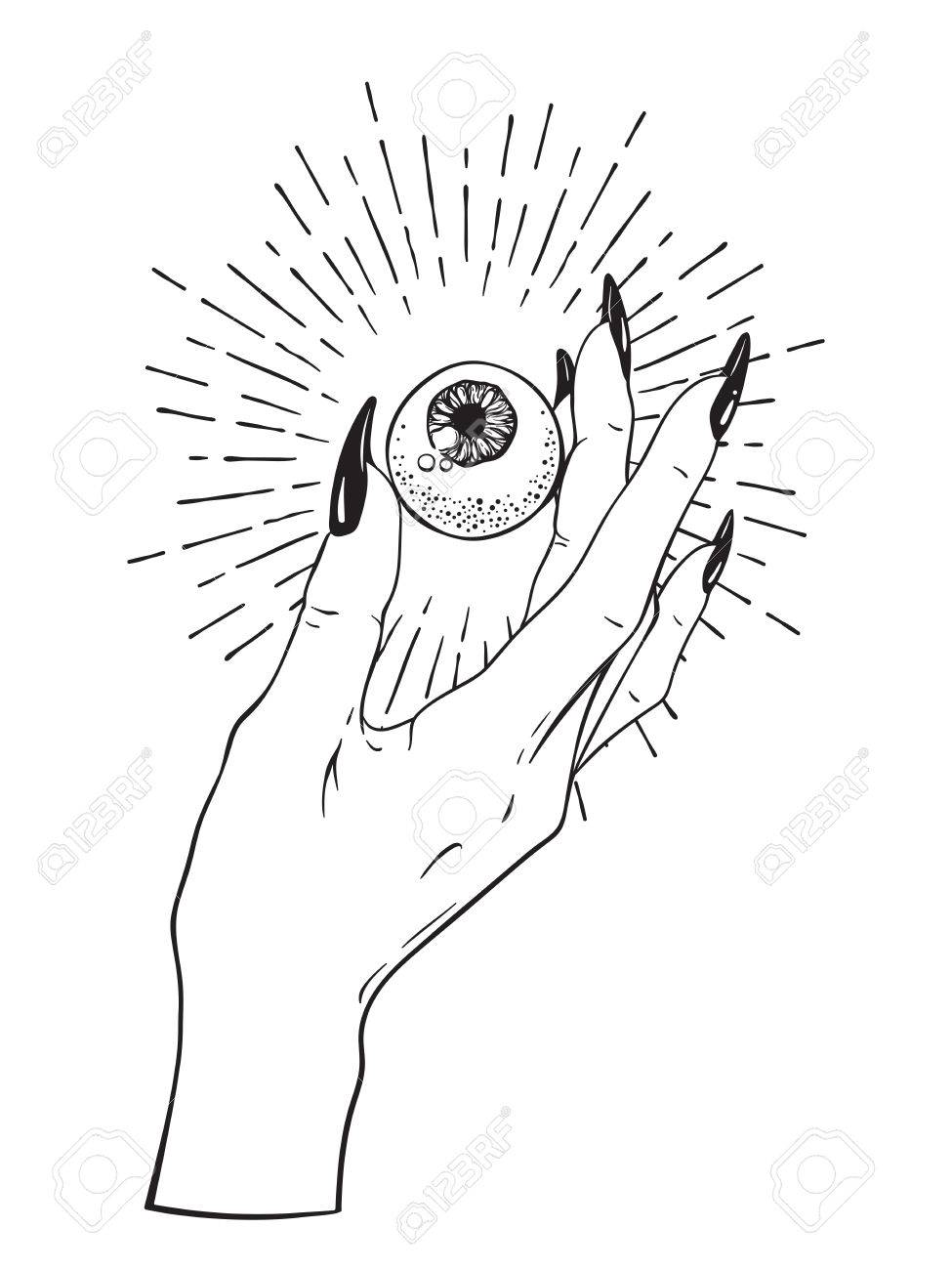 975x1300 Human Eyeball In Female Hand Isolated. Sticker, Print Or Blackwork