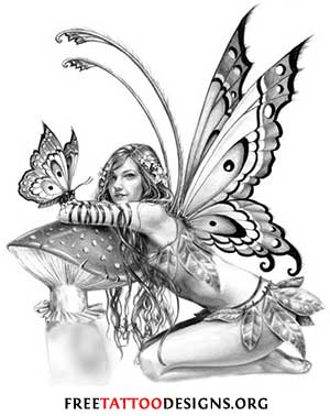 300x378 Grey Ink Realistic Fairy With Mushroom And Butterfly Tattoo Design