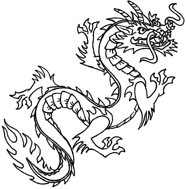 600x610 Fire Breathing Dragon Coloring Pages