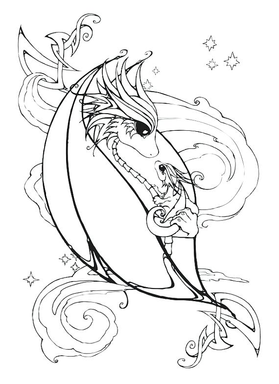 570x784 Beautiful Dragons Coloring Pages Image Cartoon Pictures Echos