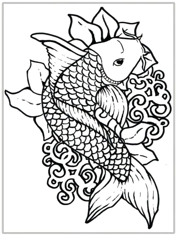 580x773 Realistic Fish Coloring Pages Free Ocean Coloring Pages Free
