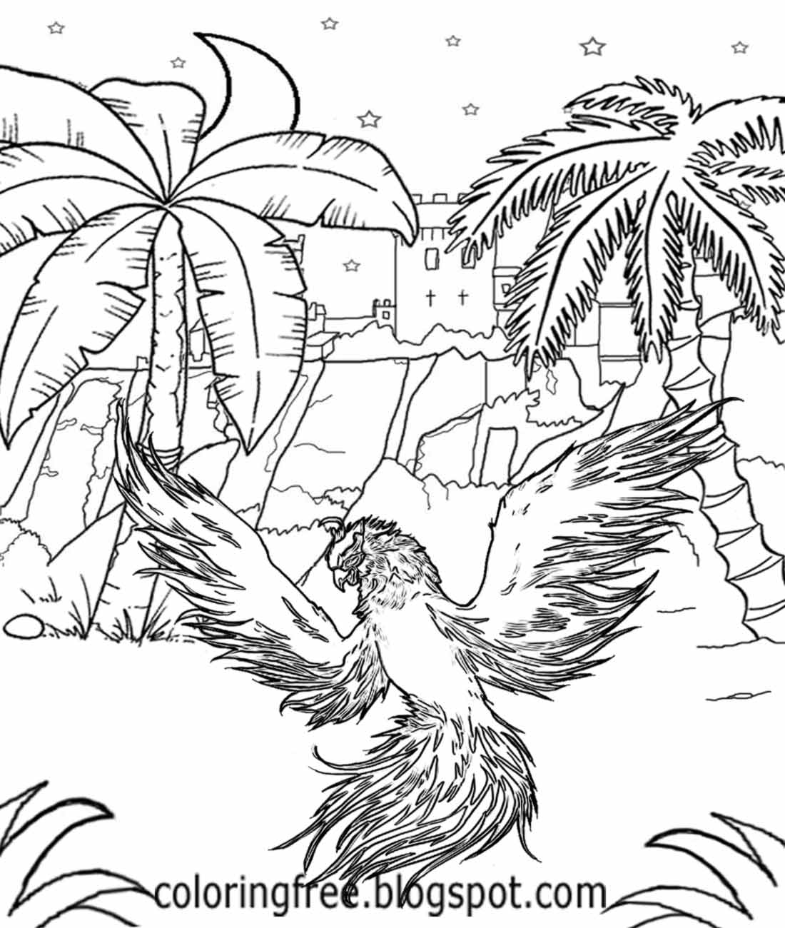 Fancy Realistic Phoenix Coloring Pages Ensign - Resume Ideas ...