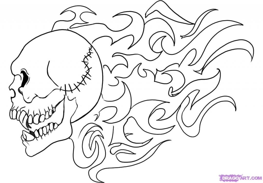 1024x712 How To Draw Flames How To Draw A Flaming Skull Step Step Skulls