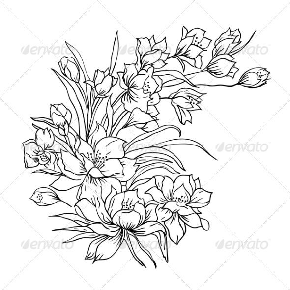 590x590 Realistic Flower Bouquet Drawing