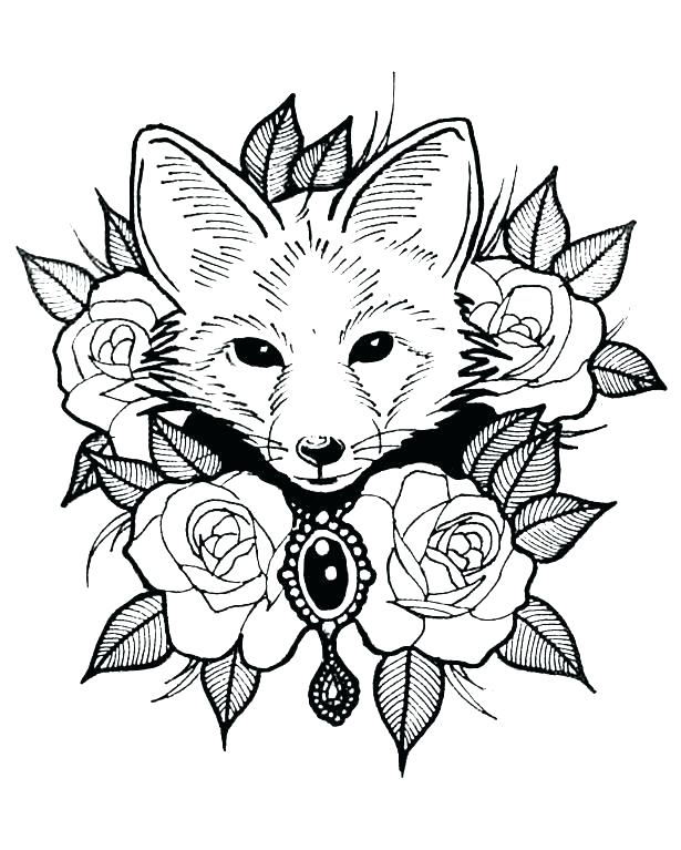 615x767 Animal Coloring Pages Fox Page Sea