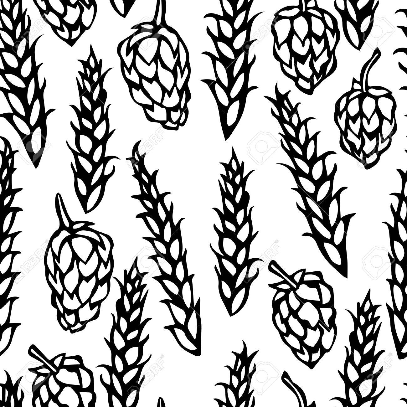 1300x1300 Seamless With Hop And Malt. Isolated On A White Background