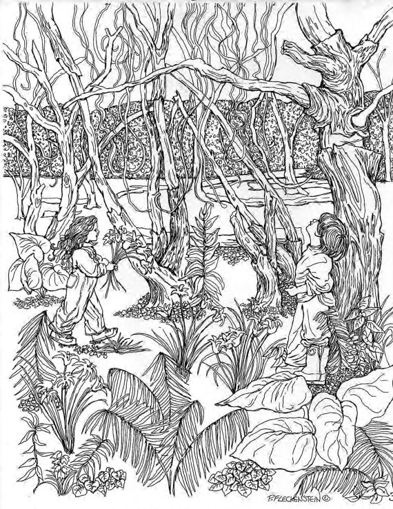570x739 Coloring Page Of Childhood Memories Realistic Pen Drawing