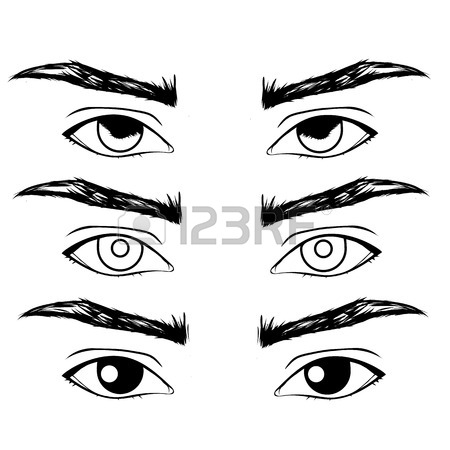 450x450 Female Eyes Outline. Open, Closed Half Open Eyes Royalty Free
