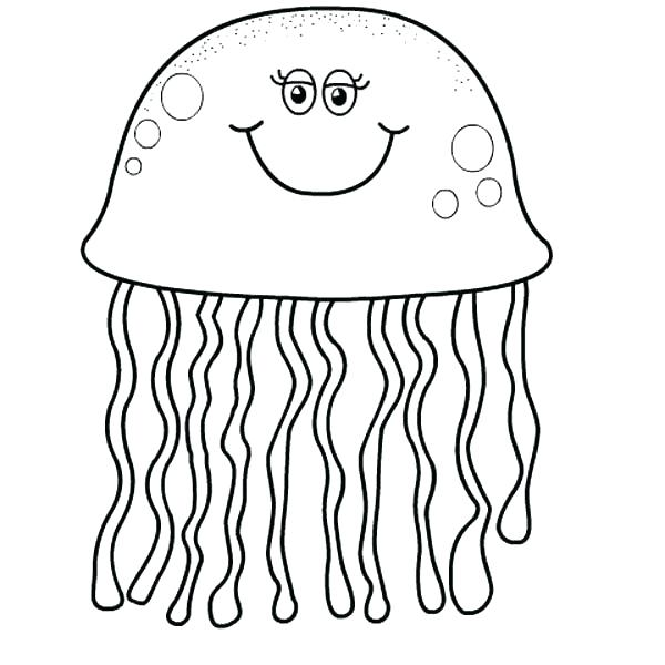 600x600 Jellyfish Coloring Pages Jellyfish Simple Cartoon Jellyfish