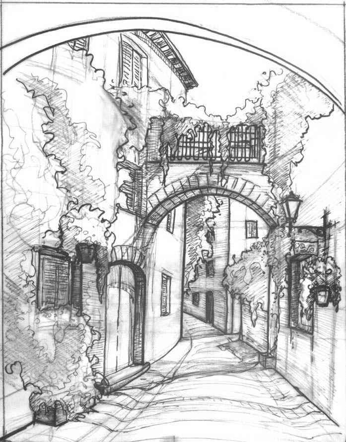 697x889 Mediterranean Street Sketch By Zersen Architecture