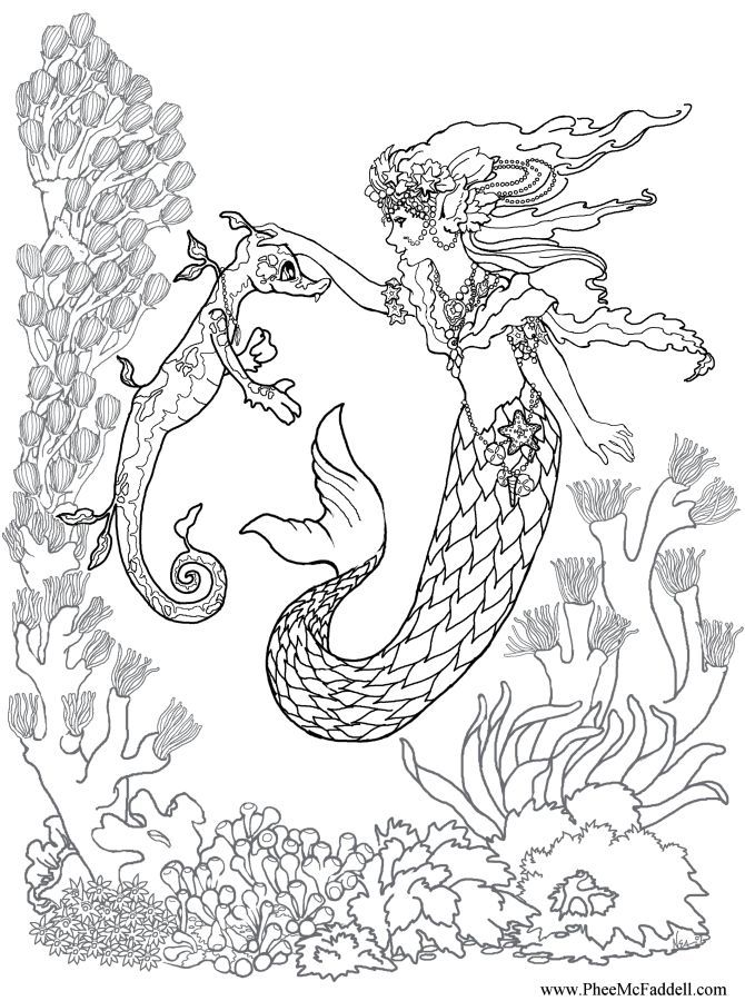 670x900 Adult Coloring Pages Mermaid