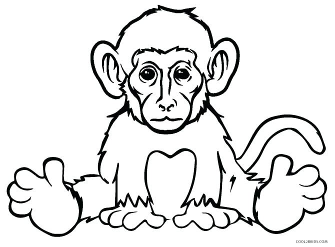 670x494 Monkey Coloring Pages Realistic Monkey Coloring Pages Monkey
