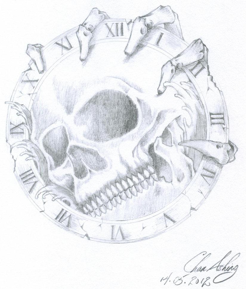 825x969 Skull In Clock By Winterdaemonchan