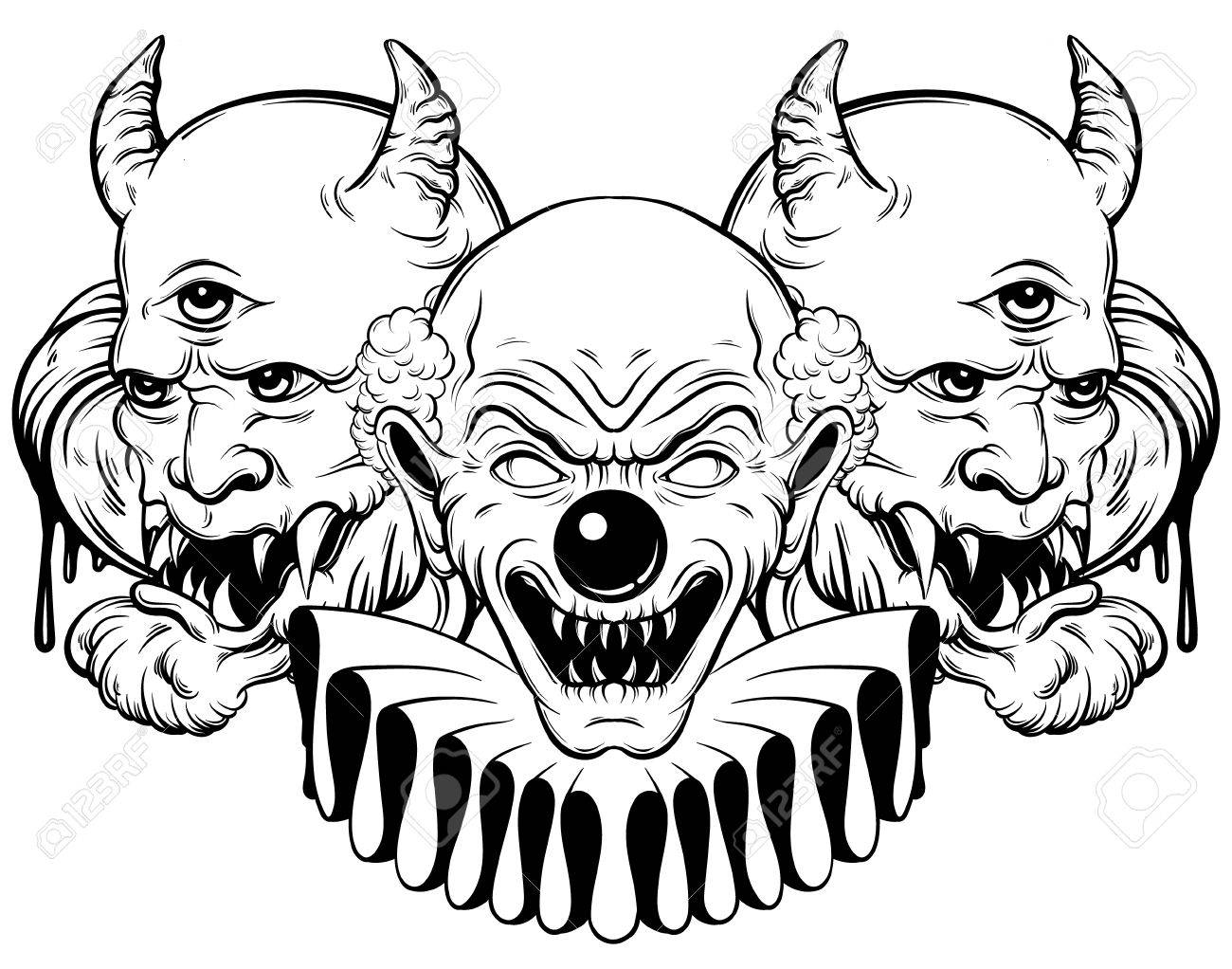 1300x1022 Vector Hand Drawn Illustration Of Angry Clown And Daemon. Tattoo