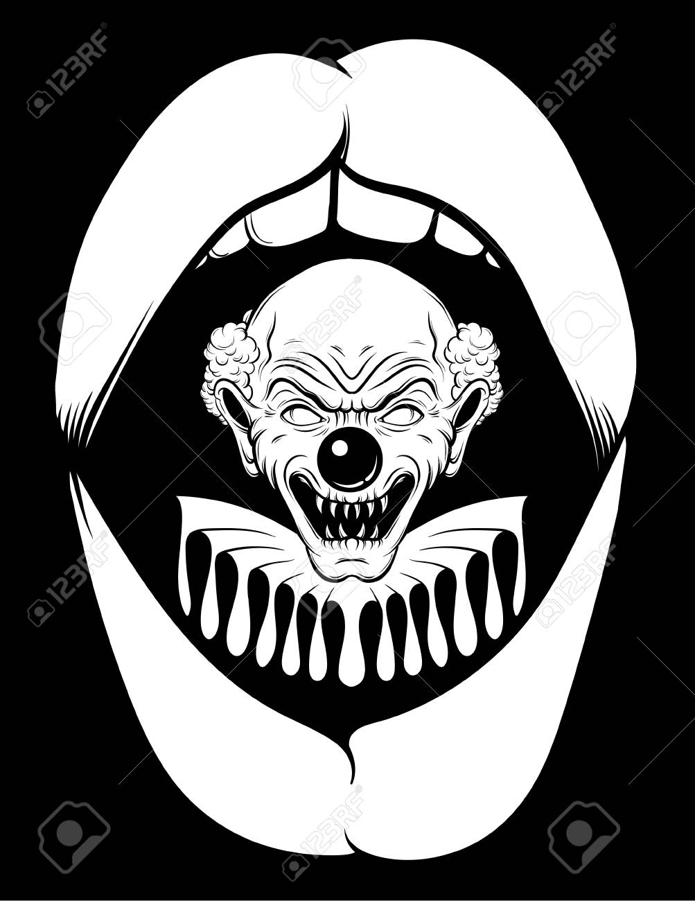 1003x1300 Vector Hand Drawn Illustration Of Angry Clown In Open Screaming