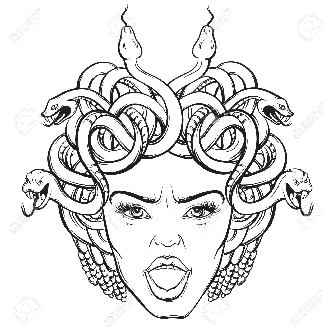 1300x1300 Vector Illustration Of Angry Gorgon With Snakes And Open Mouth