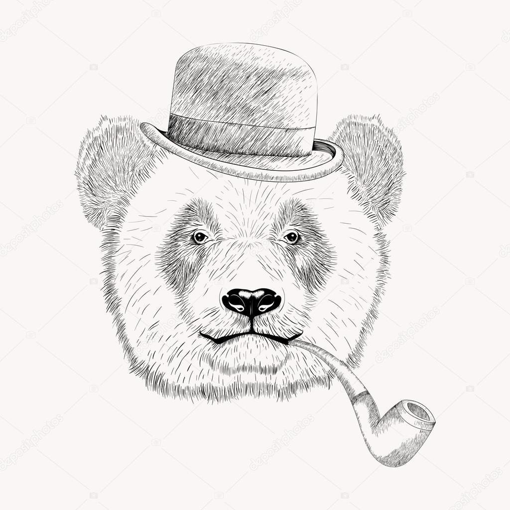 1024x1024 Panda Face With Tobacco Pipe. Stock Vector I Panki