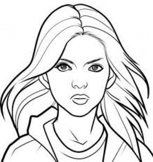 520x551 girl face coloring page realistic human face coloring pages