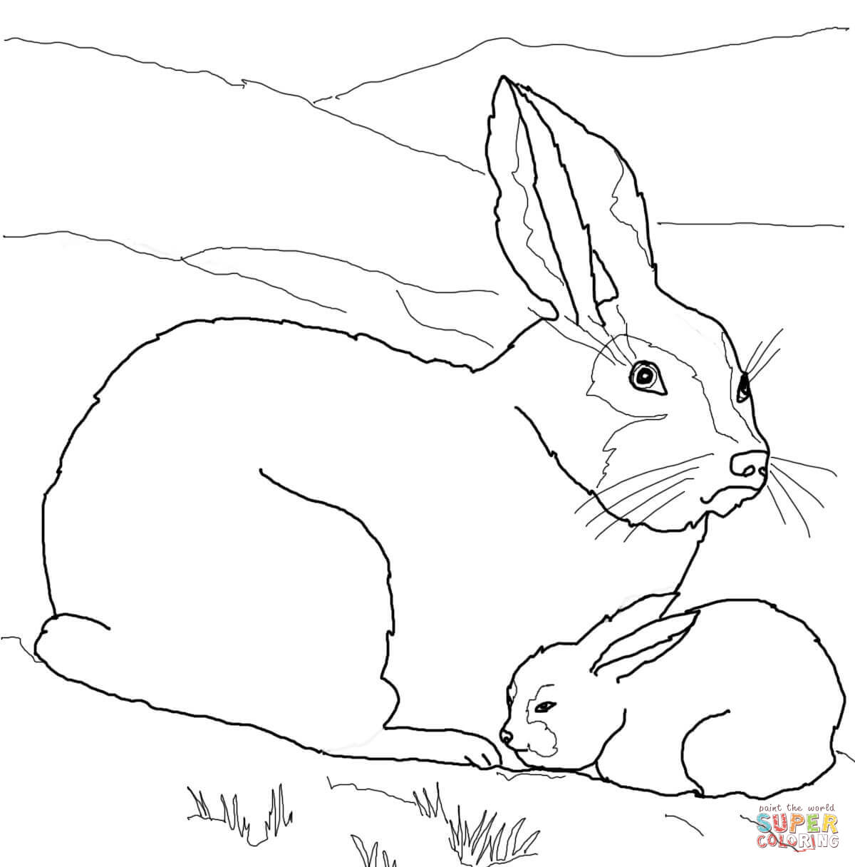 1200x1216 Wolf Mom Baby Coloring Page Baby Bunny Coloring Pages