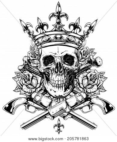 389x470 Skull And Crown Images, Illustrations, Vectors