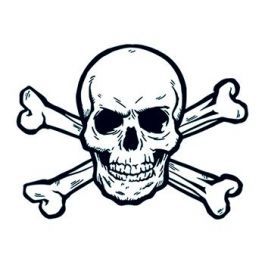 265x265 Skull And Crossbones Temporary Tattoo