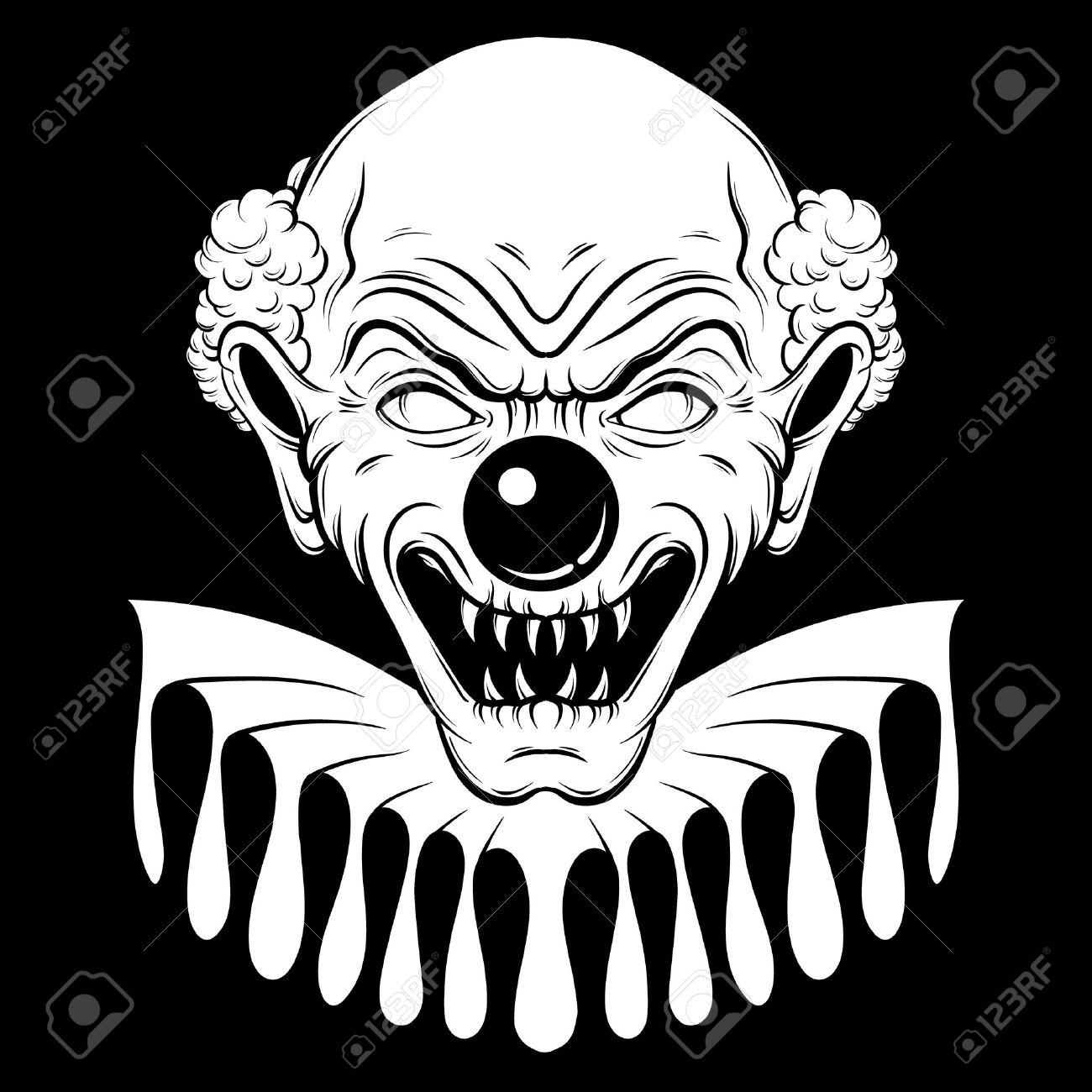 1300x1300 Vector Hand Drawn Illustration Of Angry Clown. Tattoo Artwork