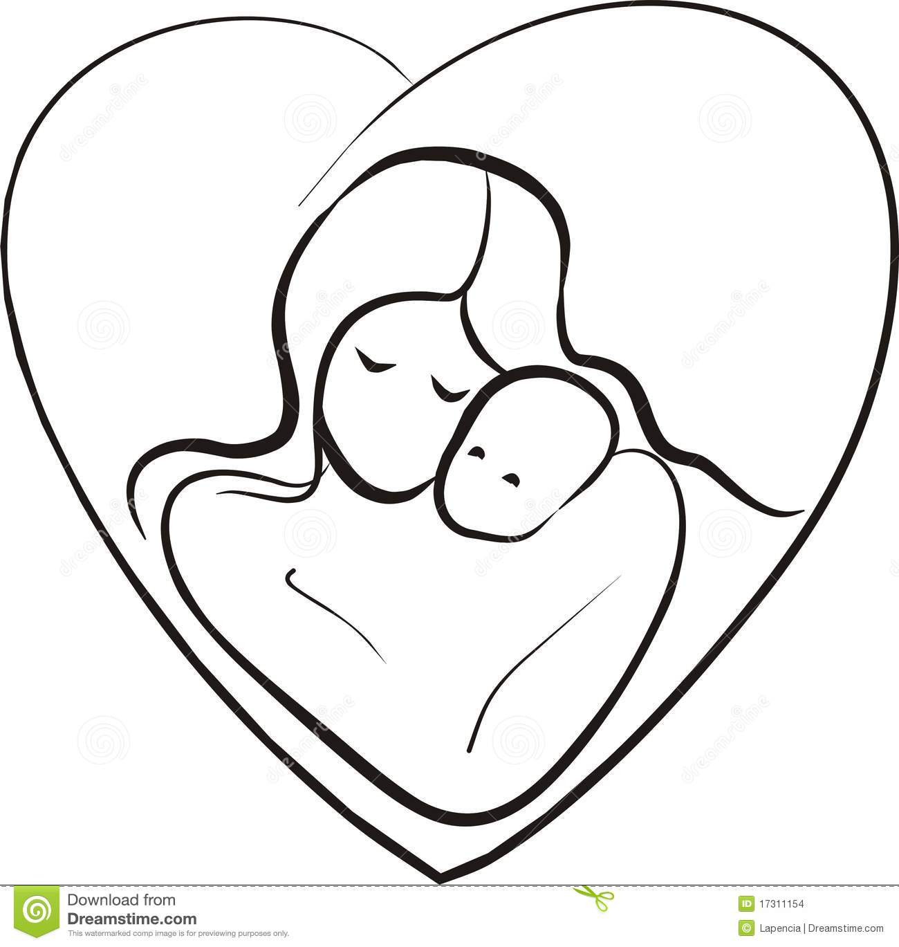 1300x1369 Mother And Child Drawing Images Mother And Child Sketch Stock