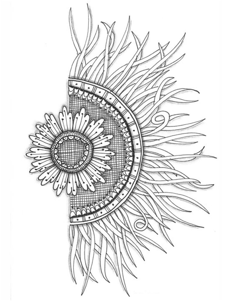 769x1021 Half Flower Half Sun, Love This For A Tattoo But Want It To Look