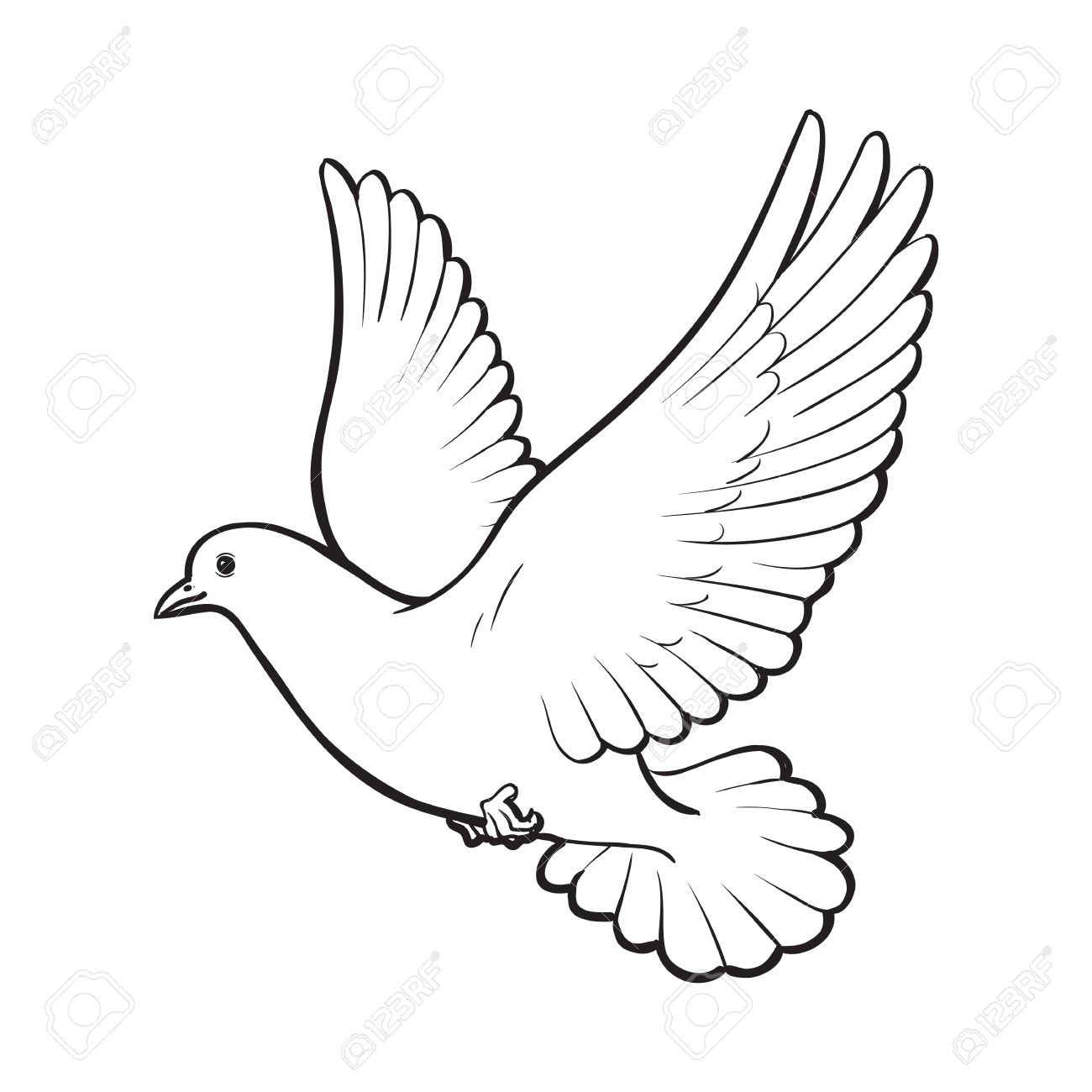 1300x1300 Free Flying White Dove, Sketch Style Vector Illustration Isolated