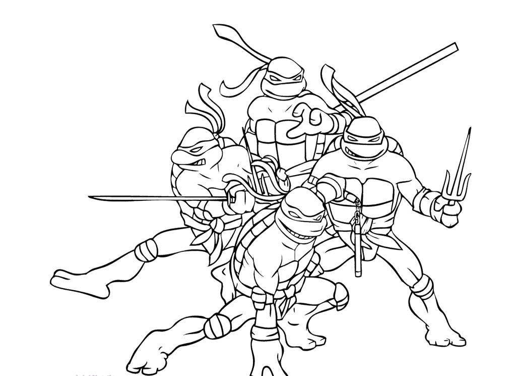 1024x745 Four Ninja Turtle Combat Ready Coloring Page Ninja Turtle