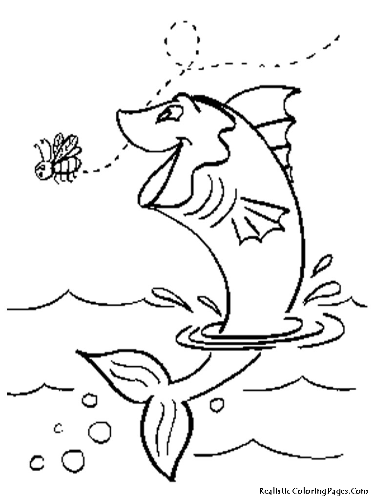 768x1024 Fish Jumping Out Of Water Coloring Pages Bass Fish Jumping