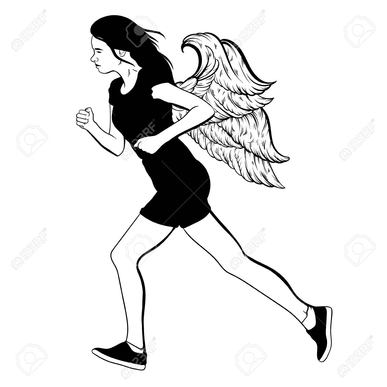 1300x1300 Vector Hand Drawn Illustration Of Running Girl With Wings Made