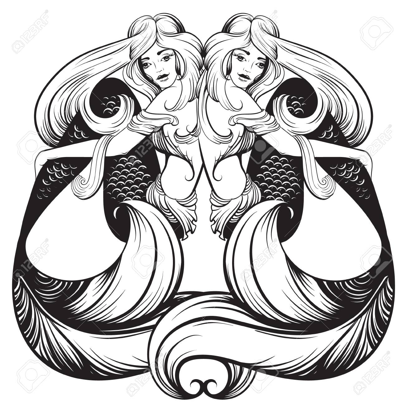 1300x1300 Vector Illustration Of Beautiful Mermaid With Nautilus