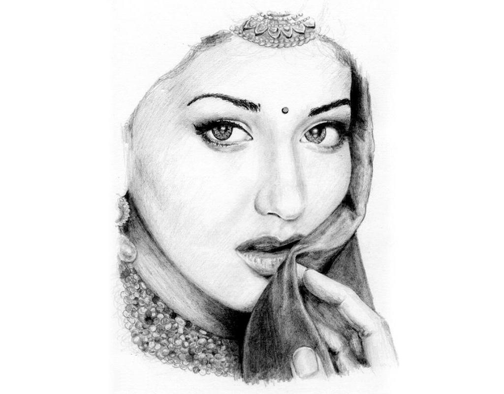 1024x800 Beautiful Womens Pencil Sketch Portrait Drawing Of A Beautiful