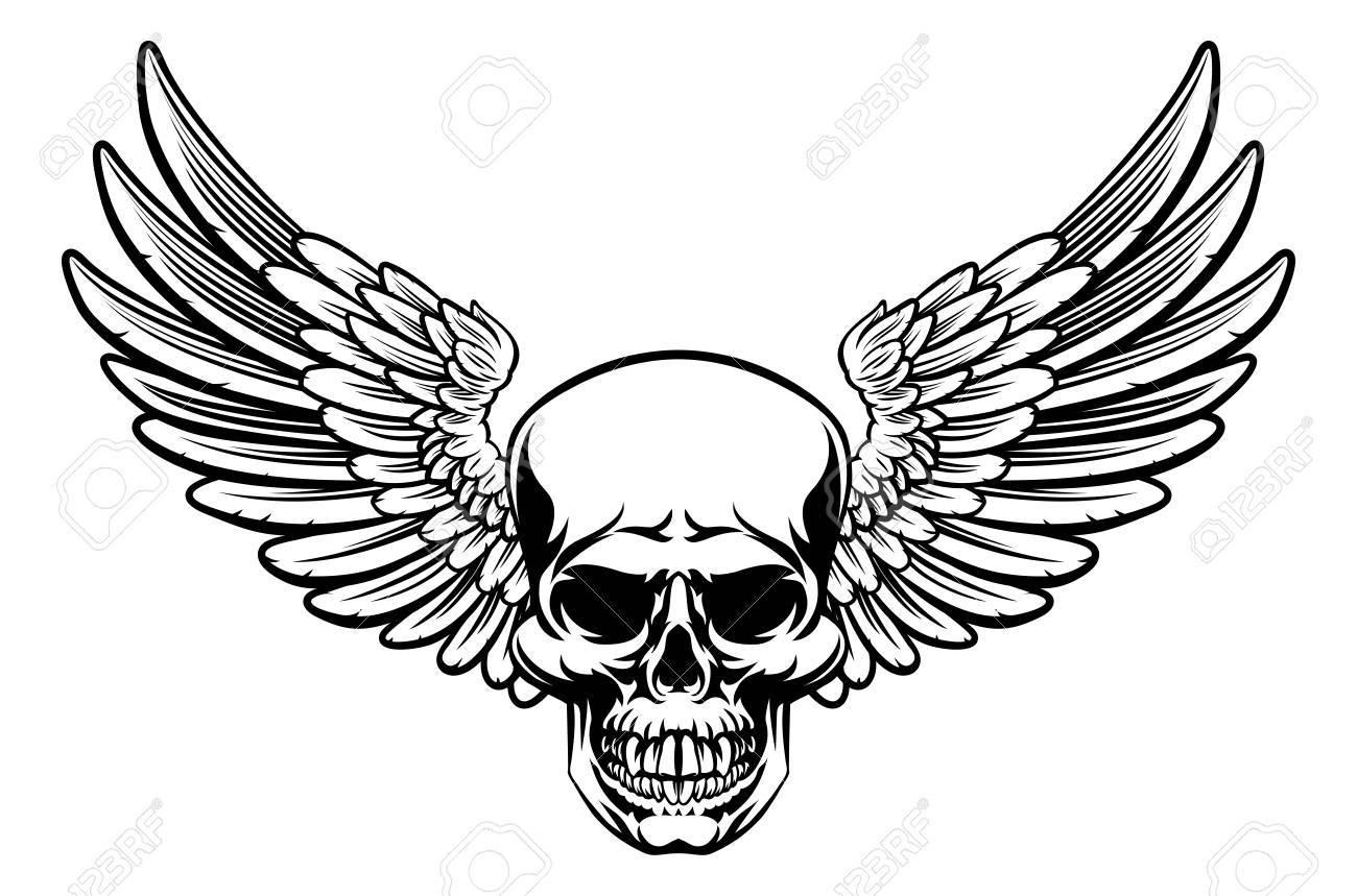 1300x859 Grim Reaper Skull With Wings Drawing Clip Art Libres De Droits