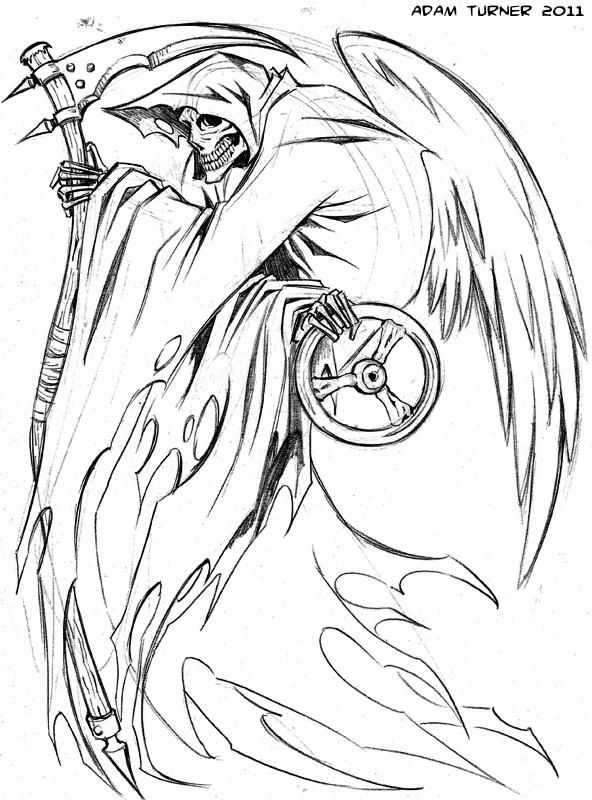 592x800 Grim Reaper Tattoo By Adam Turner